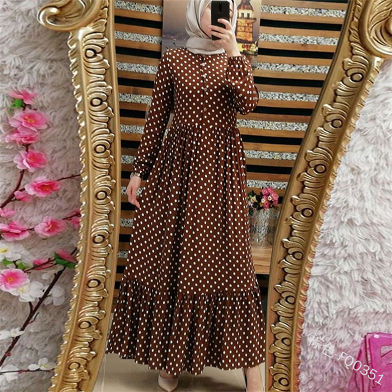 Plus Size Polka Dot Kaftan Abaya Dubai Hijab Muslim Dress Caftan Marocain Turkish Dresses Jilbab Abayas For Women Islam Clothing Women Women's Abaya Women's Clothings cb5feb1b7314637725a2e7: black dress|Brown dress|green dress|Red dress