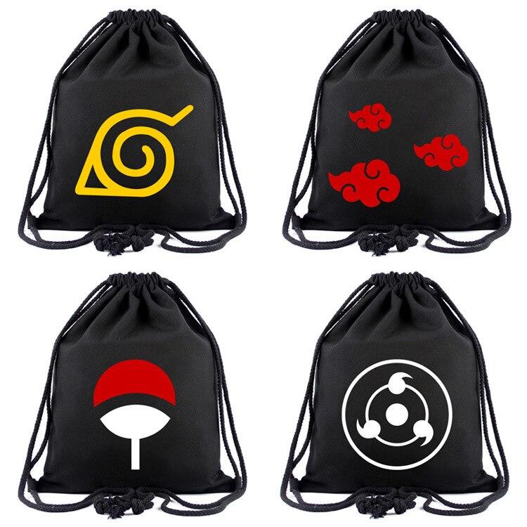 Anime Bag NARUTO Drawstring Bag Tokyo Ghoul Backpack One Piece Attack On Titan CARTOON Travel Bags Mochila Shoulders Bag