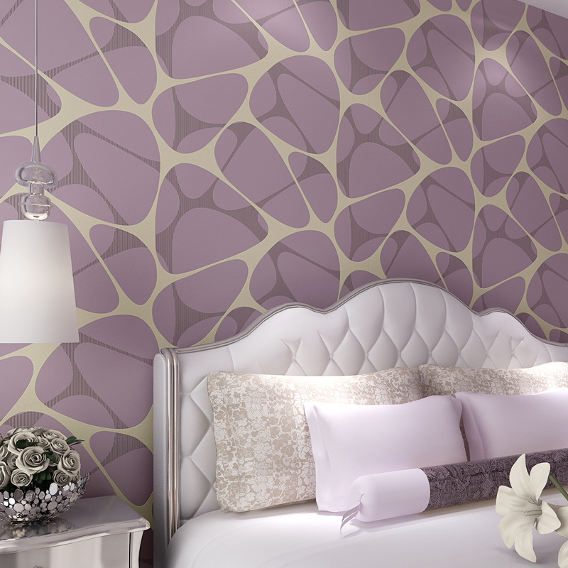 Modern Minimalist Geometry Background Of Television In The Drawing Room Wallpaper Coffee Color Purple BIRD'S NEST Nonwoven Fabri