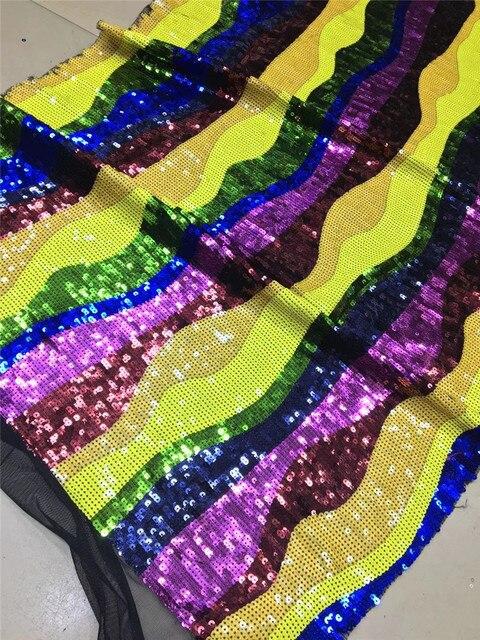 Offre spéciale en filet de dentelle 5 Yards/pièce | Dentelle noire française en maille, tissu assorti à de petites paillettes colorées, style africain en maille pour robe de soirée, collection