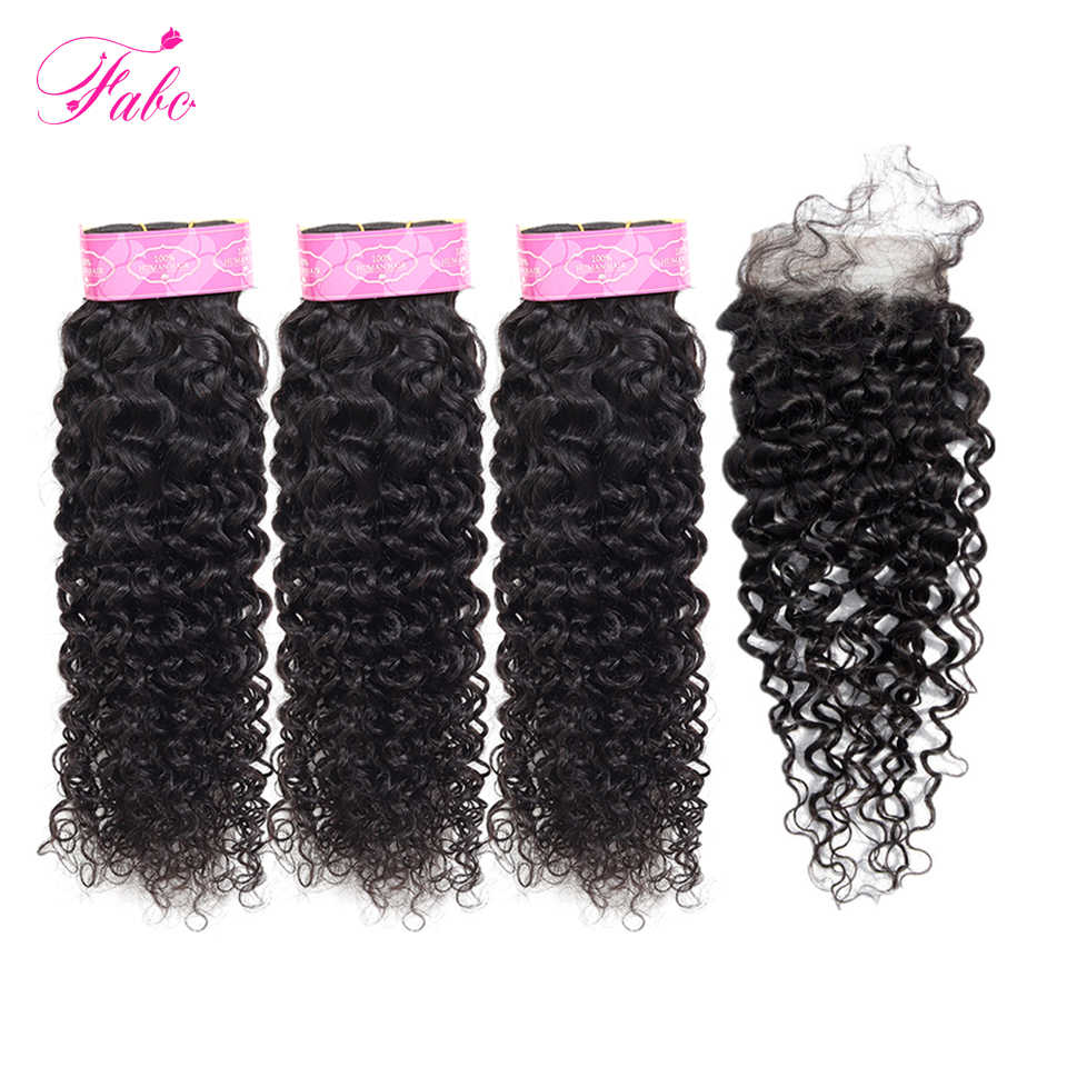 FABC Hair Peruvian Water Wave Bundles with Closure Non Remy Hair Bundles with Closure 100% Human Hair Extensions Free Shipping