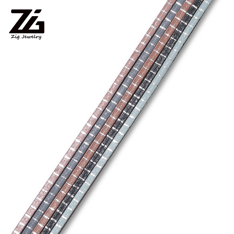 ZG 2mm Silver Horizontal Stripe Leather Rope DIY Bracelet Making Leather Rope Creative Bracelet Jewelry Jewelry Making