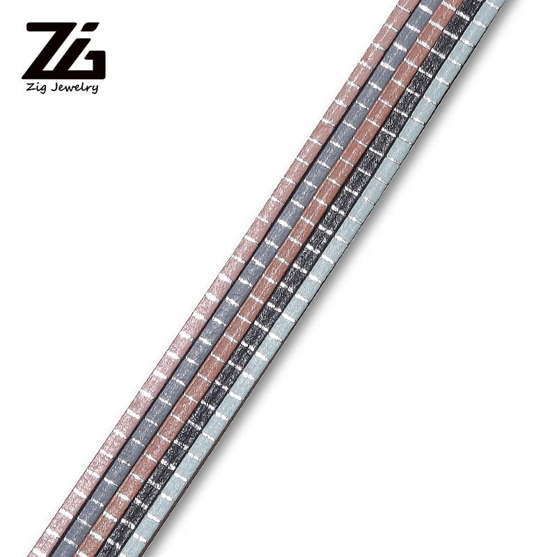 ZG 2mm Silver Horizontal Stripe Leather Rope DIY Bracelet Making Leather Rope Creative Bracelet Jewelry Jewelry Making