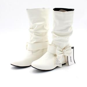 Image 5 - ENMAYERผู้หญิงใหม่ฤดูใบไม้ผลิและฤดูใบไม้ร่วงBowtie Charms Flatsรองเท้าผู้หญิงกลางลูกวัว 4 สีสีขาวรองเท้ารองเท้าขนาดใหญ่ขนาด 34 47