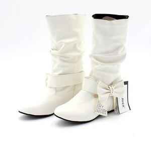 Image 5 - Новые дамские весенне осенние ботинки «ENMAYER» с бантом на плоской подошве Дамские ботинки до середины икры в 4 расцветках Большие размеры (34–47)