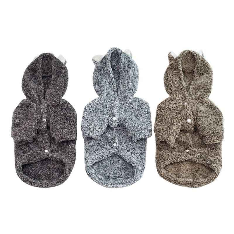 Casual Dogs Clothes with Caps Dog Cute Bear and Ear Warm Coats Winter and Autumn Puppy Cloth Pet Dog Puppy Supplies ZA