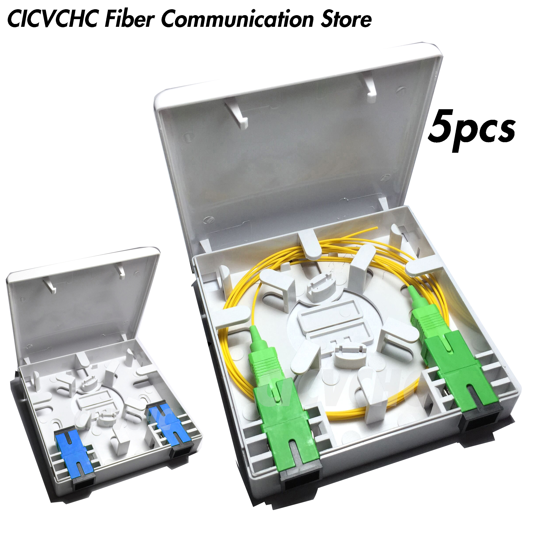 5pcs 2 Cores Fiber Terminal Box 86x86mm Panel/FTTH ODN