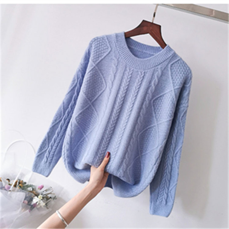 O-Neck Warm Loose Thick Solid Casual Long Sleeve Knitted Sweater Pullover Fashion Winter All Match Pull   Femme Female Women New