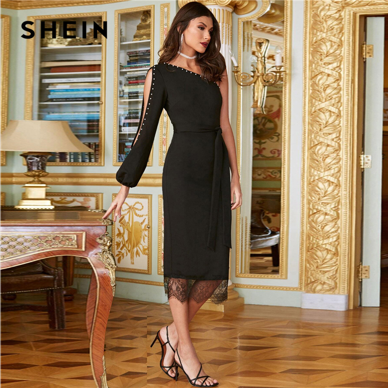 SHEIN Black One Shoulder Split Sleeve Pearls Beaded Lace Hem Belted Dress Women Spring Glamorous Sexy Empire Fitted Long Dresses 2