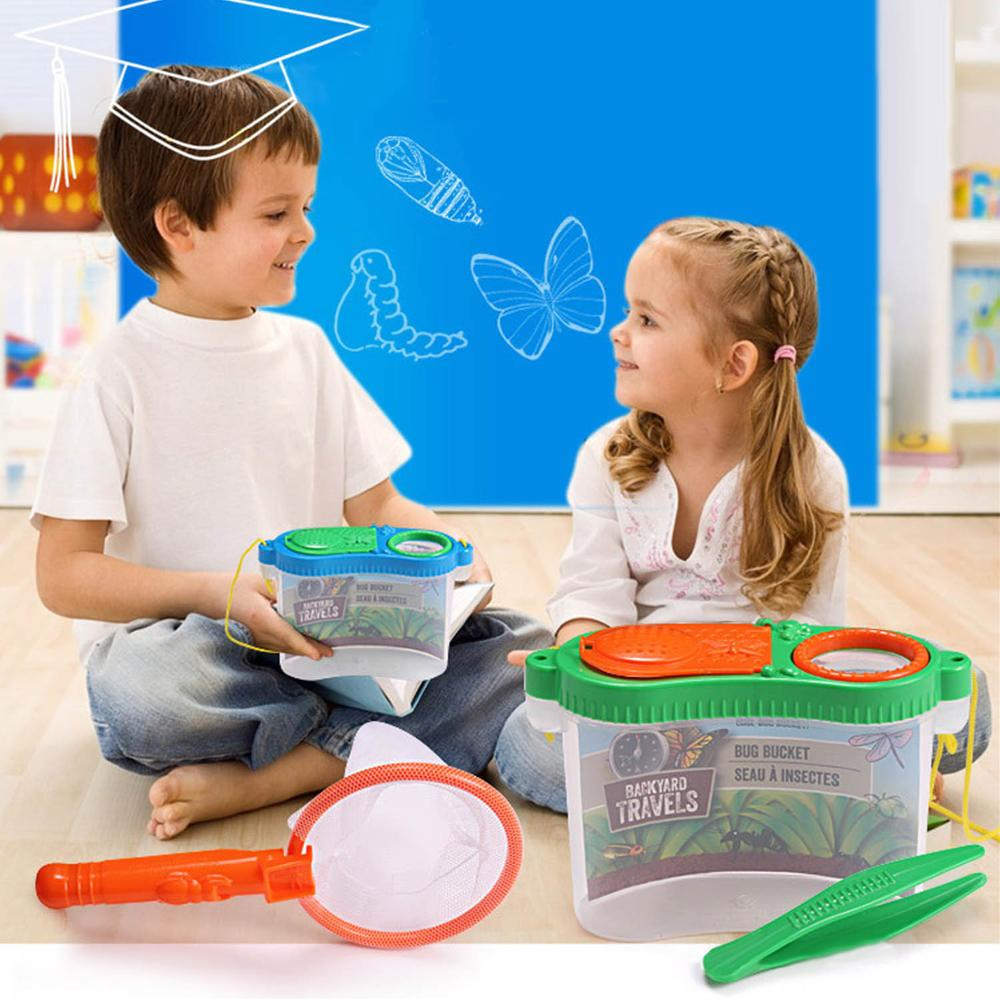 Besegad Kid Exploration Bug Catch Insect Toy Includes Butterfly Net Tweezers Box Magnifier Early Education Experimental Research