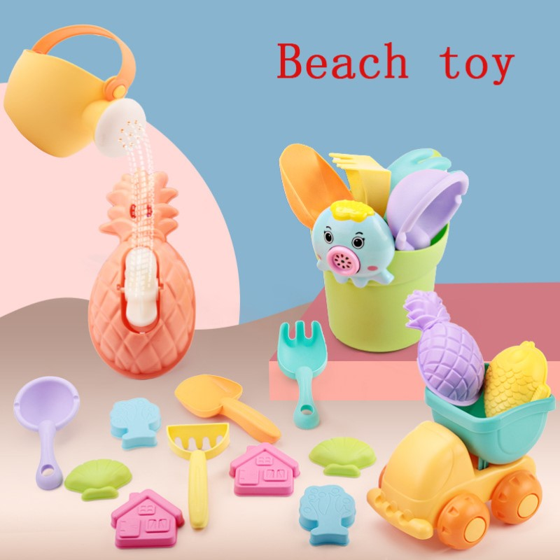 Children Summer Soft Silicone Beach Toys SandBox Set Kit Sea Sand Bucket Rake Hourglass Water Table Play And Fun Shovel Mold