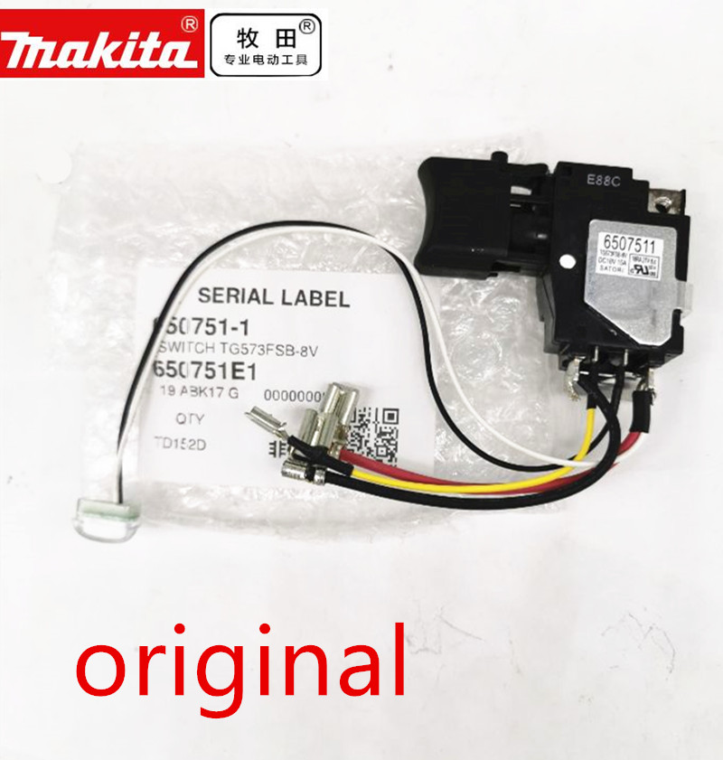 18V switch for Makita 650751-1 TD152D DTD152 DTD152Z DTD152RME DTD152RFE 6507511