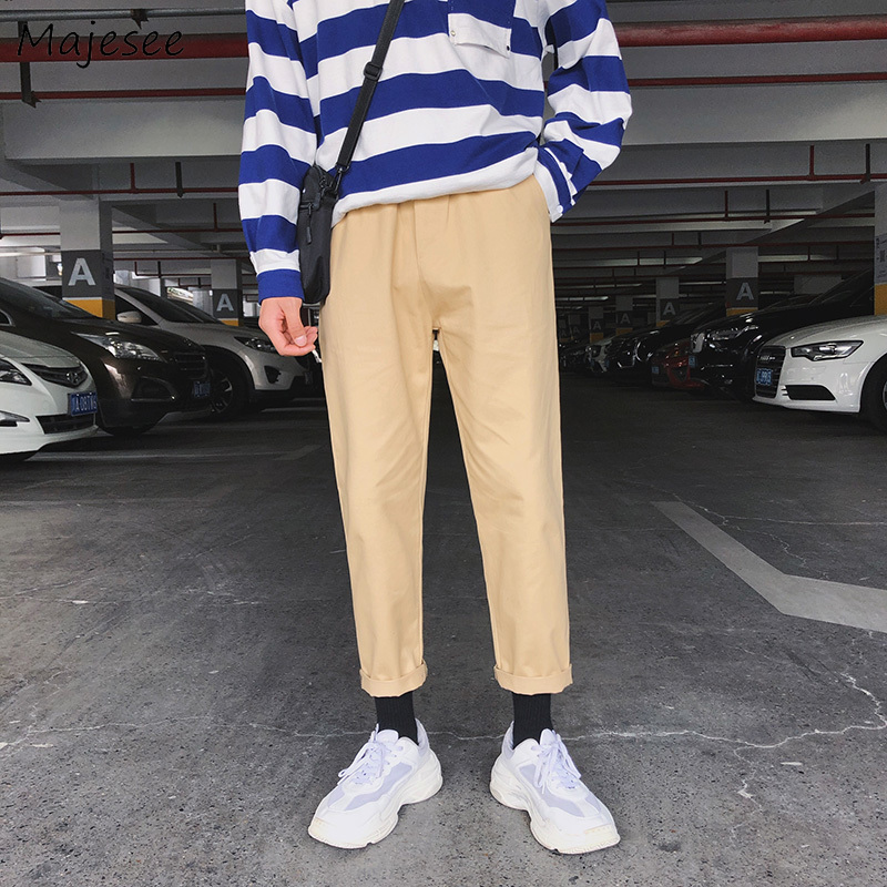 Pants Men Large Size Pockets Leisure All-match Elastic Waist Straight Ankle-length Pant Mens Trendy Harajuku Ulzznag Trousers
