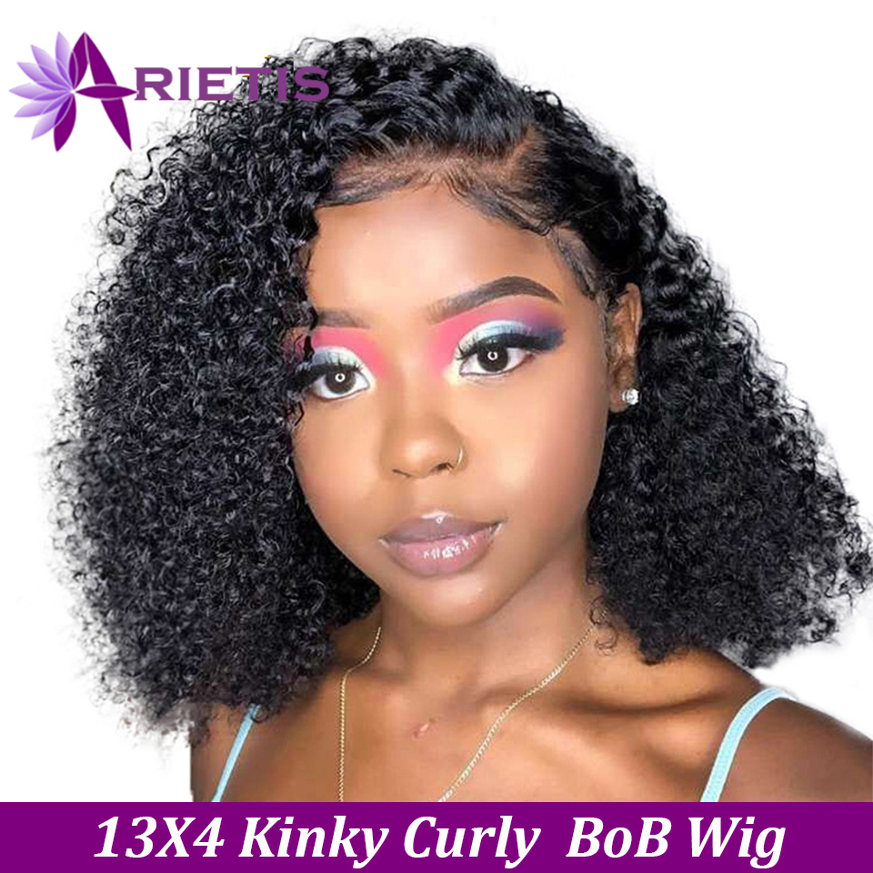Arietis Kinky Curly Lace Front Human Hair Wigs With Baby Hair Brazilian Remy Hair Short Curly Bob Wigs For Women Pre-Plucked Wig