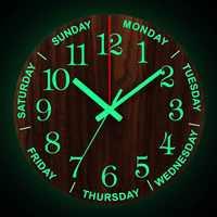 12 pulgadas Pared luminosa relojes nueva circular de cuarzo relojes hogar Decoración dormitorio decoración brillante en la oscuridad reloj de parede