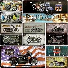 PLACA de Metal de matrícula de motocicleta, cartel de hojalata Vintage, Bar, Pub, Club, decoración, póster de hierro, 15x30cm, Ruta 66