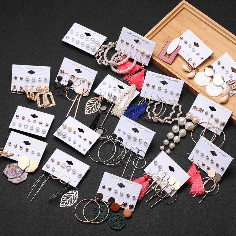 Rumbai Akrilik Anting-Anting untuk Wanita Bohemian Anting Anting-Anting Besar Geometris Drop Anting-Anting 2020 Mutiara Anting-Anting Set DIY Fashion Perhiasan