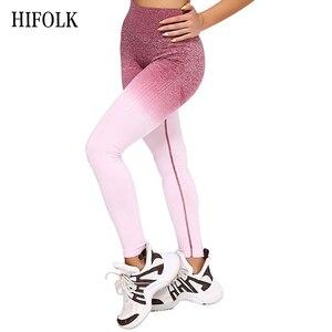 Image 1 - HIFOLK Fashion Women Fitness Seamless Leggings High Waist Push Up Pants Workout Jogging New Women Sporting Activewear Leggings