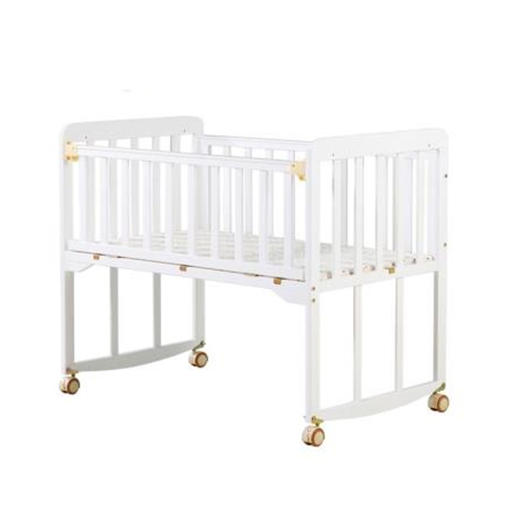 H1 Crib Solid Wood Without Paint Can Be Spliced Big Bed Baby BB Bed Multifunctional Children Bed Newborn Cradle Kids Furniture