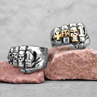 Fist Punch Skull Gold Men Rings Punk Hip Hop Personality for Boyfriend Male Stainless Steel Jewelry Creativity Gift Wholesale