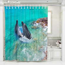 Beach Dolphin Landscape Shower Curtain 3D Bathroom Curtains Waterproof Eco-friendly Fabric Washable Bath Decor