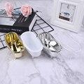 1 шт., мини-коробка для хранения золотого и серебряного цветов, пластиковая Ванна, мыло, коробка для хранения ювелирных изделий, контейнер дл...