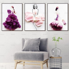canvas Picture Painting Wall art flower figure wall painting poster print girl on home decor