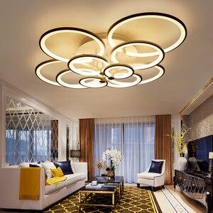 Image 5 - Dimmen + afstandsbediening living studeerkamer slaapkamer moderne led kroonluchter wit of Zwart opbouw led kroonluchter armaturen
