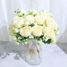 Najlepiej sprzedająca się piękna róża piwonia sztuczne jedwabne kwiaty mały biały bukiet strona główna impreza zimowa dekoracje ślubne sztuczne kwiaty