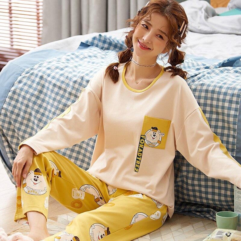 C22105 # Chubby Bear Emblem Pullover LZ Long Sleeve Sweet Pajamas Tracksuit Piece Series