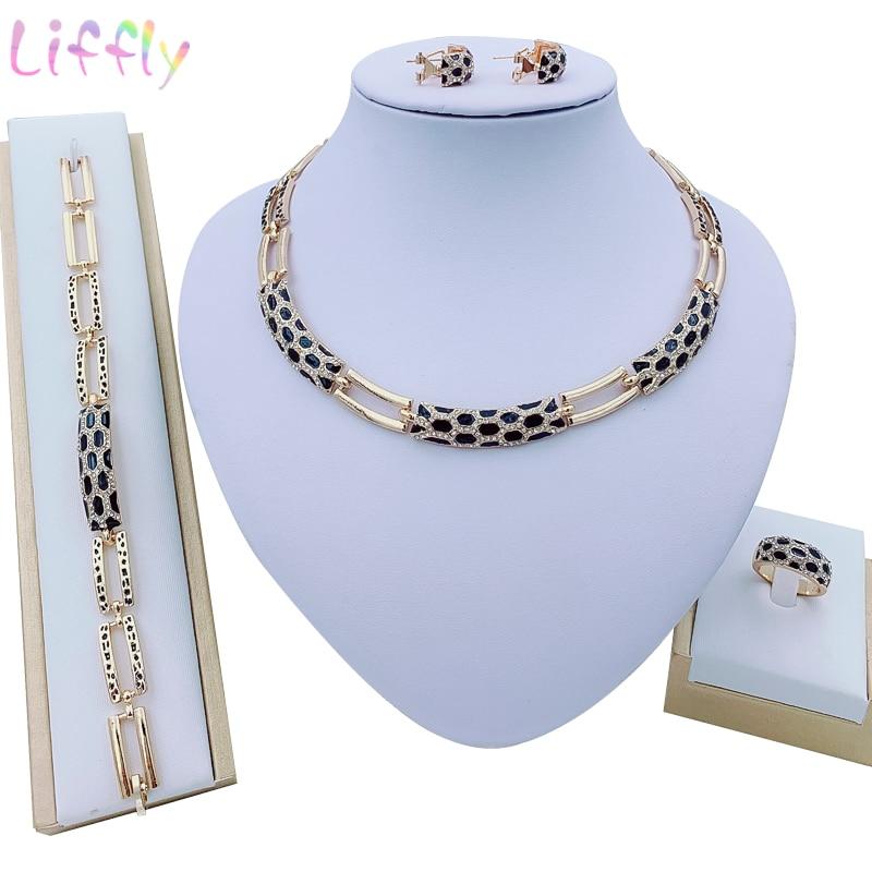 Liffly Luxury Bridal Women Dubai Gold Jewelry Sets Nigerian Wedding India Jewelry Set Costume Fashion Necklace Design