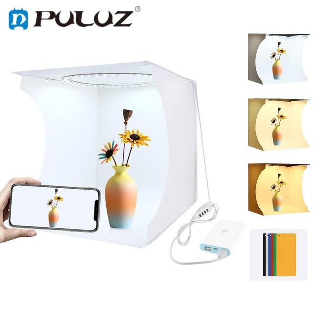 PULUZ 12 * 12in/31*31cm Lightbox regulowane światło pierścień Panel ledowy fotografia Tentbox Photo Studio Shoot Box i 6 kolorów tła