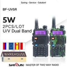 2 pçs baofeng BF UV5R rádio amador portátil walkie talkie pofung UV 5R 5w vhf/uhf rádio banda dupla rádio em dois sentidos uv 5r cb rádio