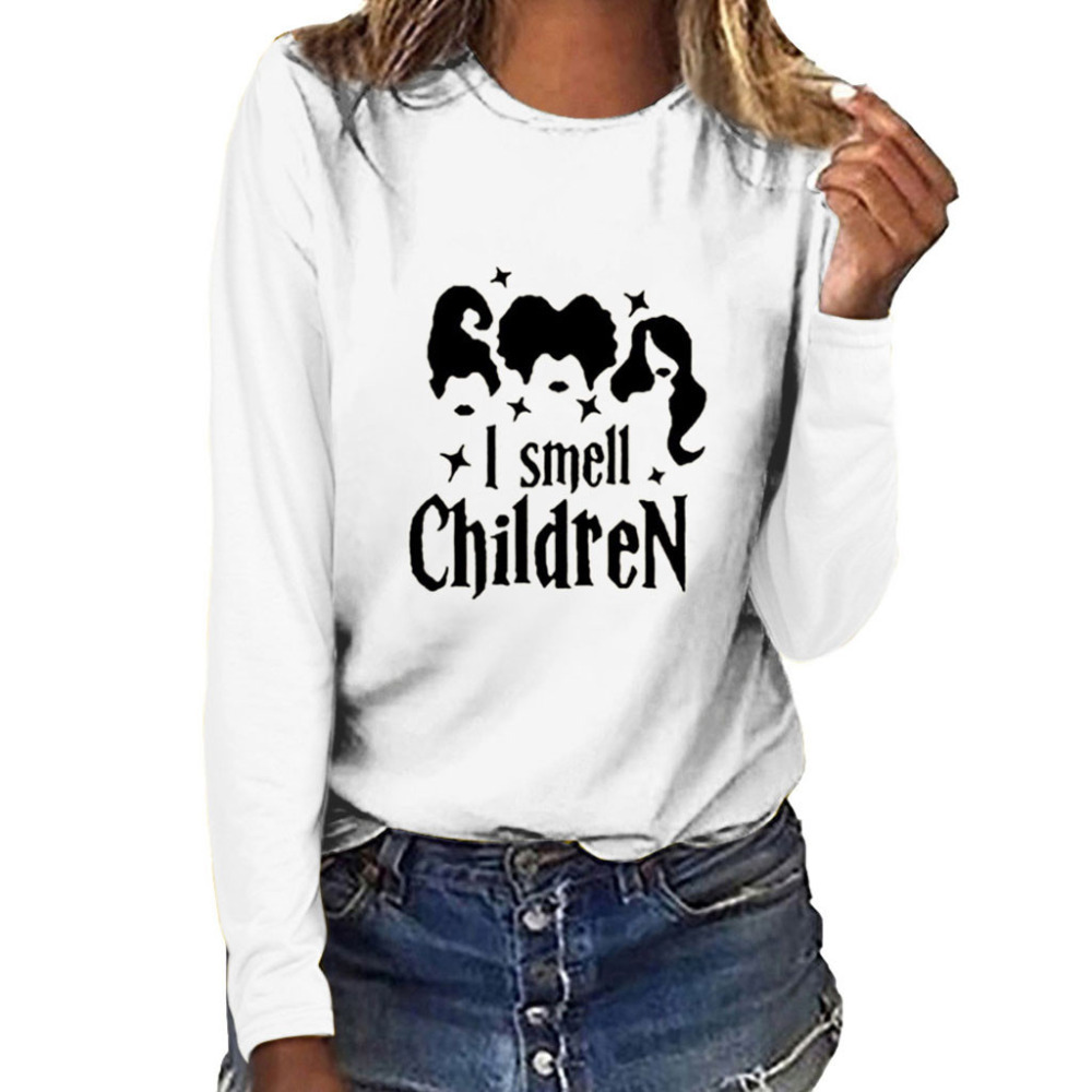 Women Fashion Plus Size Print Round Neck Long Sleeved T-shirt Tops Customized #4S23 (9)