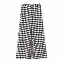 KZ915 Autumn Winter Women Chic Black White Color Block Houndstooth Pants New Fashion Trousers