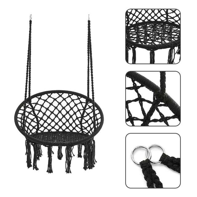 Round Hammock Chair Outdoor Indoor Dormitory Bedroom Yard For Child Adult Swinging Hanging Single Safety Chair Hammock 3