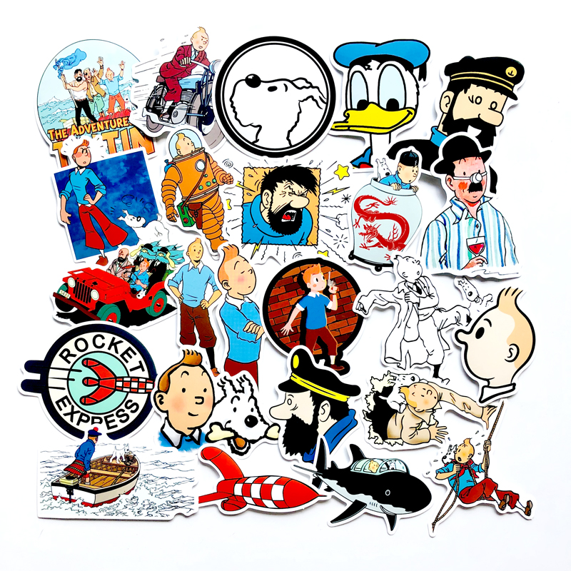 25PCS Adventures Of Tintin Anime Stickers For Luggage Skateboard Phone Laptop Stickers Kids Toy Scrapbooking Decals