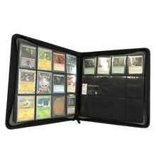 O couro do plutônio 480/360/160 bolsos cardam o álbum de cartão do zíper do jogo da pasta tcg com 4/9/12 selou páginas fixas dos bolsos para mg/pkm/fow/ygo
