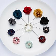 Fashion Pearl Colored Camellia Chrysanthemum Cloth Flower Word Pin Brooch for Women Cardigan Badge Jewelry Gifts