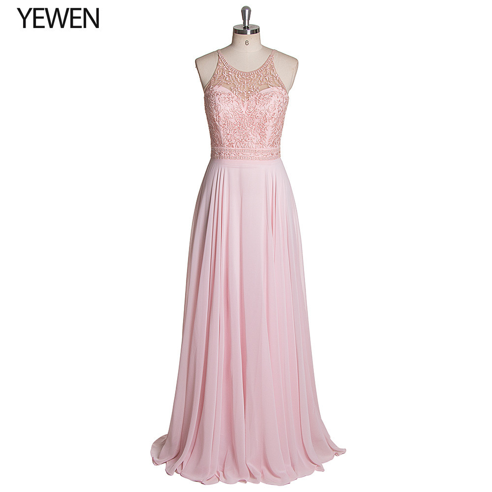 Sexy Prom Dresses Long 2020 Halter-neck Sleeveless Backless Pink Color A Line Prom Dress Party Gowns Vestido De Festa