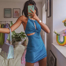 Women's Mini Dress Halter Cut-Out Sexy Backless Elegant Club Party Sleeveless 2021 Summer Dress Holiday Birthday Clothing