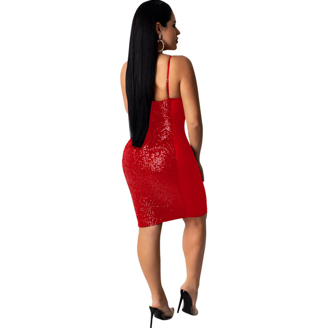 Sexy Lace See Through Dress Women Bodycon Backless Sequin Mini Dress Elegant Hollow Out Evening Party Shiny Dresses Plus Size 2