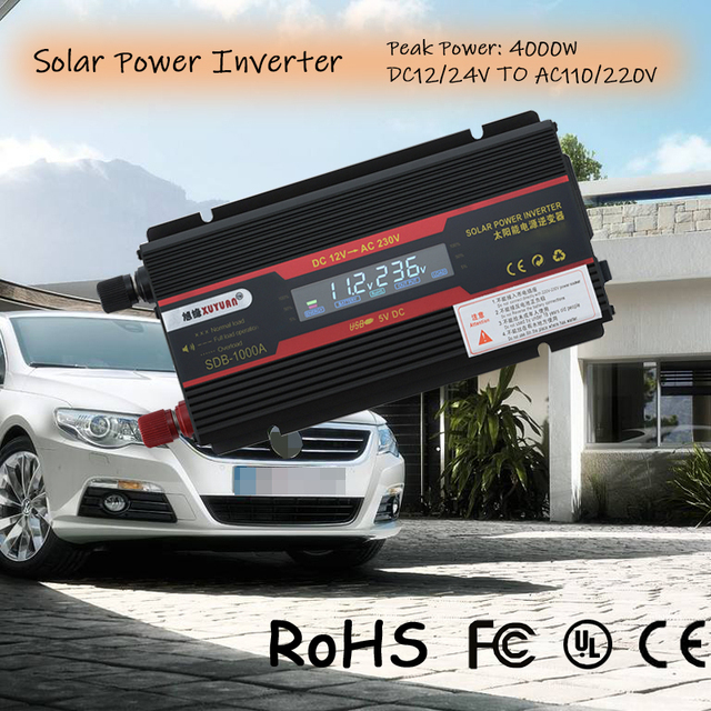 Solar Power Inverter 4000W Peak Power DC 12/24V to AC 110/220V LCD Display Car Inverter Voltage Converter Transformer Charger