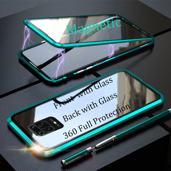 For Xiaomi Redmi Note 9s 9 Pro Max Magnetic Case 360 double-sided Tempered Glass Case Redmi Note 9S Note9s Metal Bumper Case