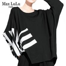 Max LuLu New Autumn Korean Fashion Style Womens Punk Tee Shirts Ladies Casual Striped Tshirts Black Printed Streetwear Plus Size