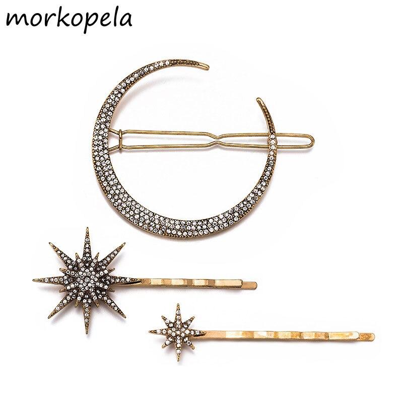 Женская заколка для волос Morkopela, Винтажная заколка со звездами и луной, свадебные украшения для волос