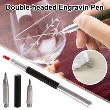 Вольфрам карбид наконечник резчик двусторонний травление гравировка маркер ручка с колпачками для стекла керамики металла