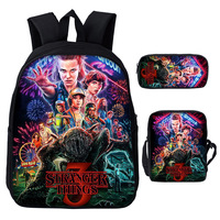 2019 Stranger Things Backpack Women Student 3 Piece SuitBackpack Bag For Laptop Bagpack For Girls Canvas College Bag