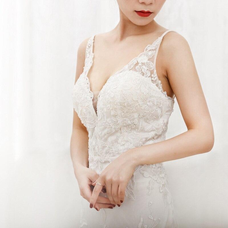 Sexy Mermaid Kant Bruidsjurken Spaghettibandjes V hals Bridal Wedding Gown Aangepast Formaat Kleur - 6