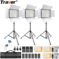 Travor TL 600A 2.4G światło led do kamery możliwość przyciemniania dwukolorowe Studio gładkie światło lampy stojące oświetlenie fotograficzne zestaw ze statywem w Oświetlenie fotograficzne od Elektronika użytkowa na